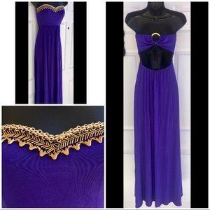 BEBE Purple Tube Maxi Dress Gold Chain Cutout S